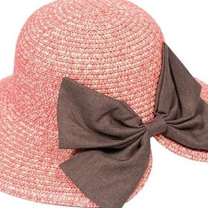 😎 Coral pink straw sunhat with bow detail